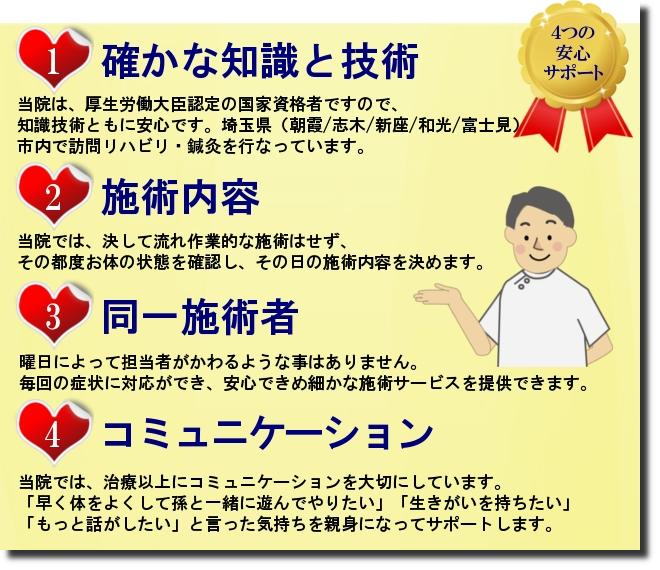 朝霞市 訪問リハビリマッサージ 訪問鍼灸の4つの安心サポート