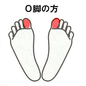 O脚の方:足先を少し開き、左右の親指に重心をかける